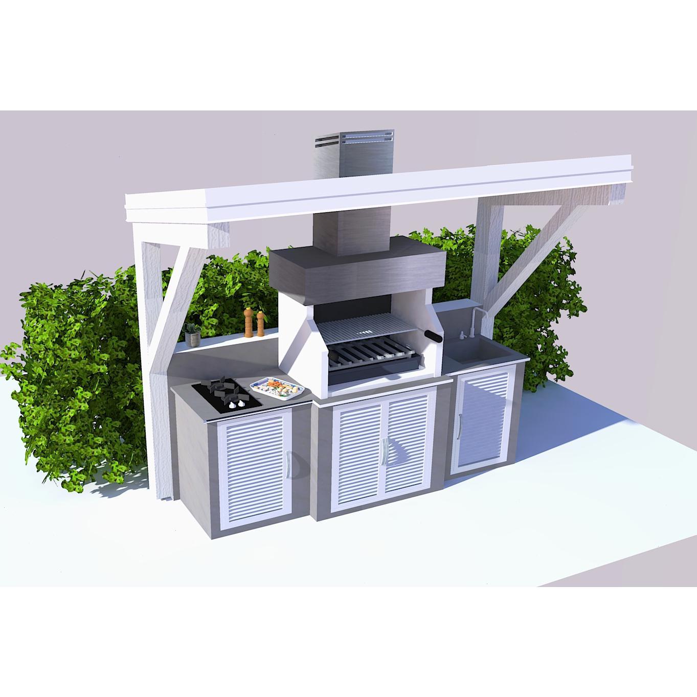 Cucina da esterno con tettoia