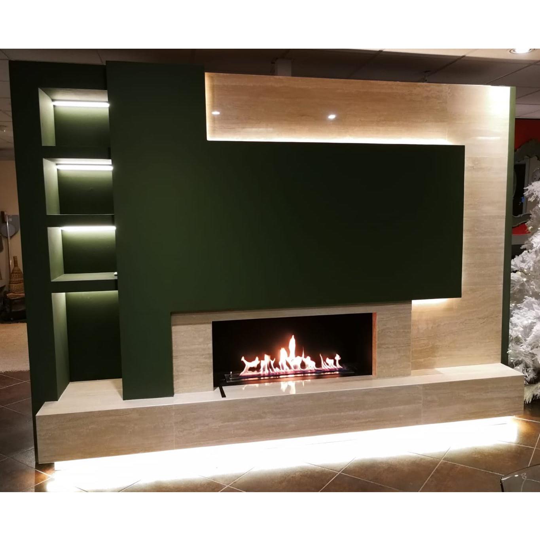 Pareti Attrezzate Moderne Con Camino parete attrezzata bioetanolo su misura