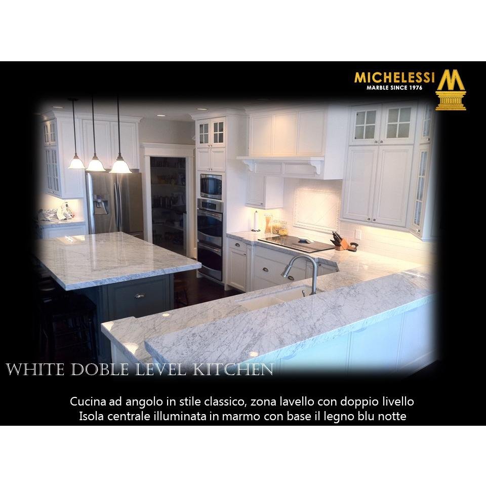 White Doble Level Kitchen